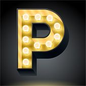 Realistic dark lamp alphabet for light board. Vector illustration of bulb lamp letter p