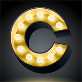 Realistic dark lamp alphabet for light board. Vector illustration of bulb lamp letter c
