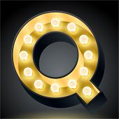 Realistic dark lamp alphabet for light board. Vector illustration of bulb lamp letter q
