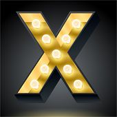 Realistic dark lamp alphabet for light board. Vector illustration of bulb lamp letter x