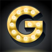 Realistic dark lamp alphabet for light board. Vector illustration of bulb lamp letter g
