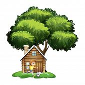 Illustration of a girl playing soccer outside the house on a white background