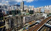 Hong Kong Day, Kwun Tong distract , skyline office buildings and public house urban