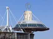 Hannover, Germany - March 6th, 2013: Panorama tower restaurant above the convention center at Hannover Fairground with the logo of Deutsche Messe AG on top.