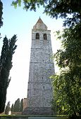 Bell Tower Of The Town Of Aquileia In Backlight