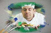 Composite image of chef smelling his dish with paintbrush dipped in green against digitally generated grey background