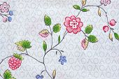Abstract Pattern From Flowers On Fabric