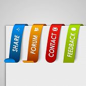 Set of colored paper tags web element