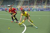 THE HAGUE, NETHERLANDS - JUNE 2: Matt Ghodes (AUS) tries to cross the ball using a backhand strike w