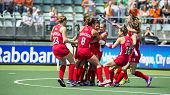 THE HAGUE, NETHERLANDS - JUNE 1: Team USA celebrating a goal during the Hockey World Cup 2014 in the