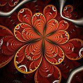 Symmetric Colorful Dark Red Fractal Flower,