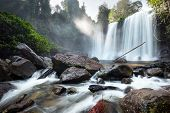 picture of waterfalls  - Waterfall landscape panorama - JPG