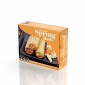 3D Spring Rolls paper package isolated on white
