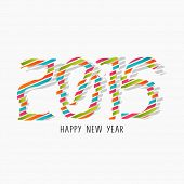 Happy New Year 2015 celebration flyer, poster, banner or invitation with stylish colorful text on grey background.