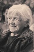Black And White Portrait Of A Grandmother