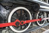 Closeup Of Old Railway Train Wheels