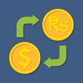 Currency Exchange. Dollar And Rupee.