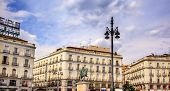 Puerta Del Sol Gateway Of The Sun Plaza Square King Carlos Iii Equestrian Statue Madrid Spain
