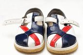 Baby Shoes White,blue And Red Colored