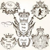 Collection Of Vector Heraldic Frames Shields And Coat Of Arms.ai