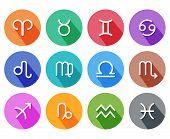 Flat trendy zodiac symbols with shadows. Vector