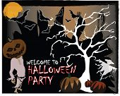 Halloween vector background design with room