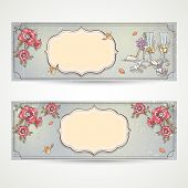 Set of horizontal banners wedding invitations with poppies glasses doves and the bride's shoe