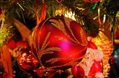 Christmas ornaments on tree.
