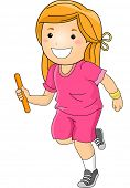 Illustration Featuring a Girl Participating in a Relay Race