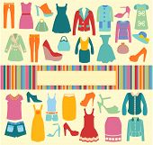 stock photo of short skirt  - Fashion background vector clothing and shoes icons - JPG