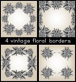 Collection Of Four Vintage Frames With Roses