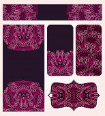 Banners Set With Pink Lacy Pattern