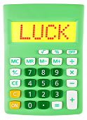 Calculator With Luck On Display Isolated