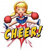 Cheerleader jumping over the word cheer