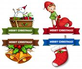 Assorted Christmas labels on white