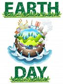 Earth day poster theme on white