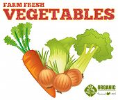 Farm fresh vegetables with text