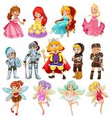 Set of fantasy knights and princesses