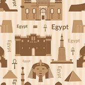 stock photo of ankh  - Landmarks of Egypt vector monochrome seamless pattern in flat style - JPG