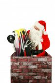 image of chimney  - Santa Claus in a Chimney - JPG