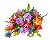 Colorful Flower Bouquet Arrangement Centerpiece Isolated On White Background.