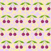 seamless polygonal cherry pattern background