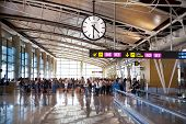 Interior of Madrid airport, departure waiting area