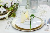 stock photo of marriage decoration  - Table set in green and white for wedding or event party - JPG