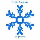 Snowflake Hand Drawn With Oil Pastels