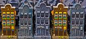 stock photo of keepsake  - Souvenir houses in shop of Amsterdam Schiphol airport. ** Note: Shallow depth of field - JPG