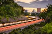 Greenville, South Carolina cityscape over Interstate 385.