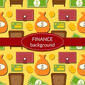 Finance background with objects in flat style and space for text