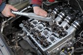 Automotive, Cylinder Head Servicing, Mechanic Hands And Tool