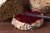 Homemade jam on integral bread